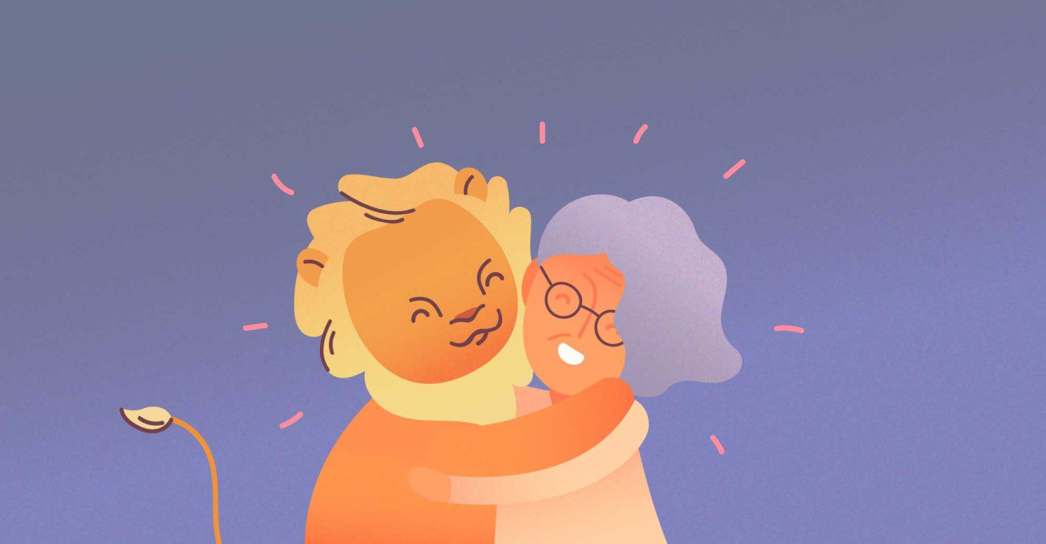 Brave Lion Hugging a Senior Citizen