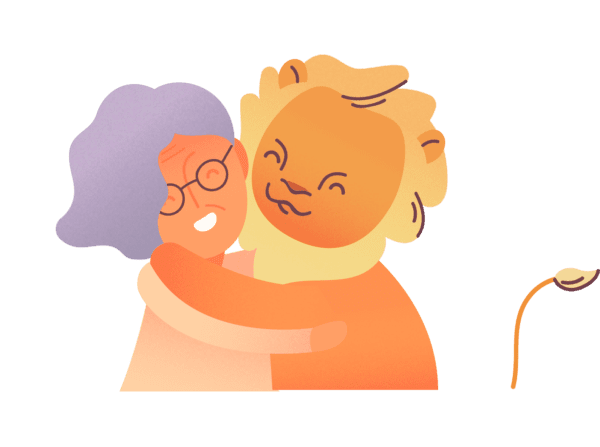 Older lady hugging the brave lion