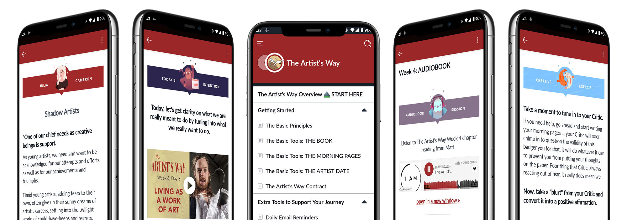 The Artist's Way Online Course Mobile App